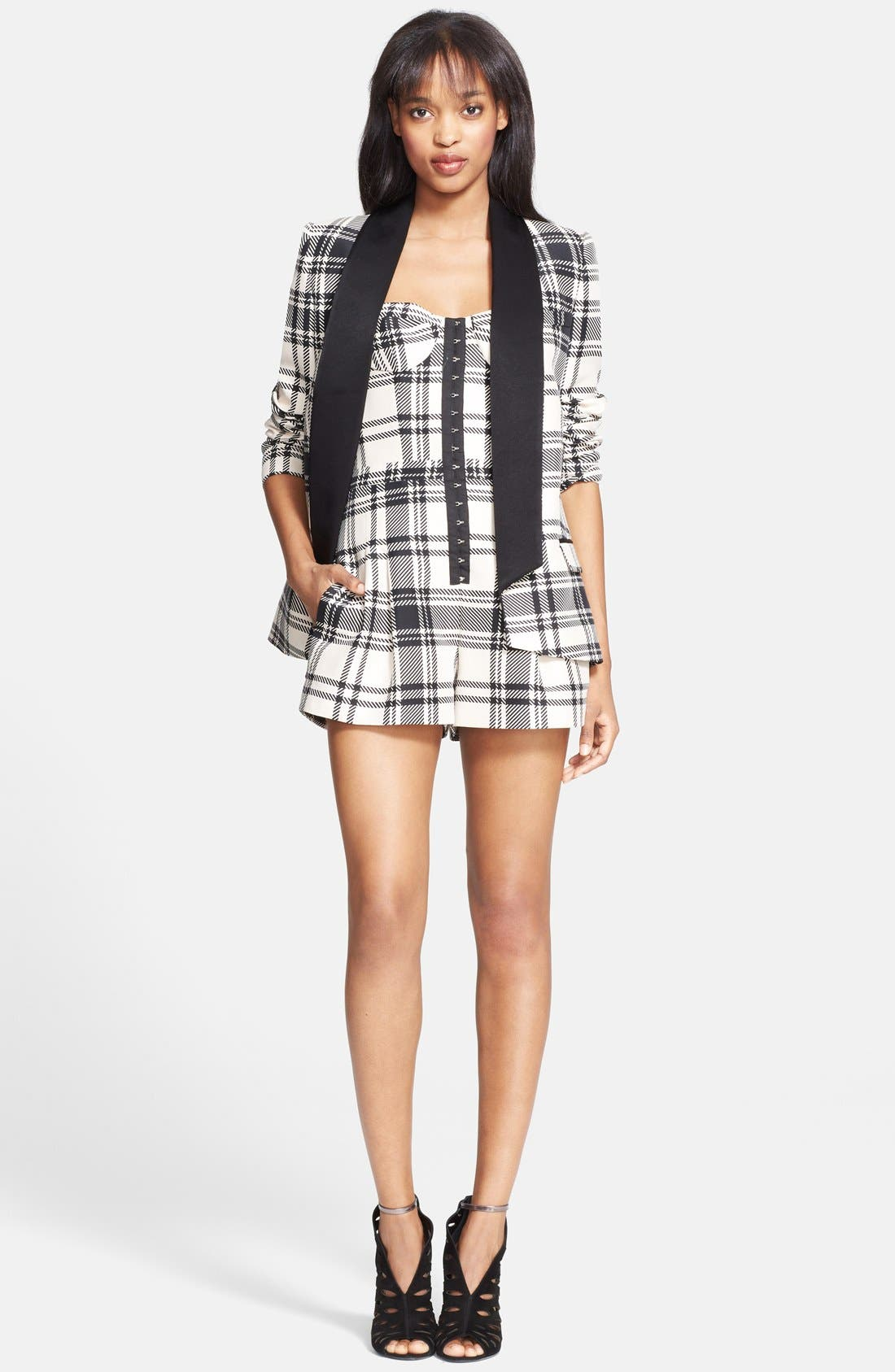 ,                             Plaid Satin Back Crepe Blazer,                             Alternate thumbnail 2, color,                             900