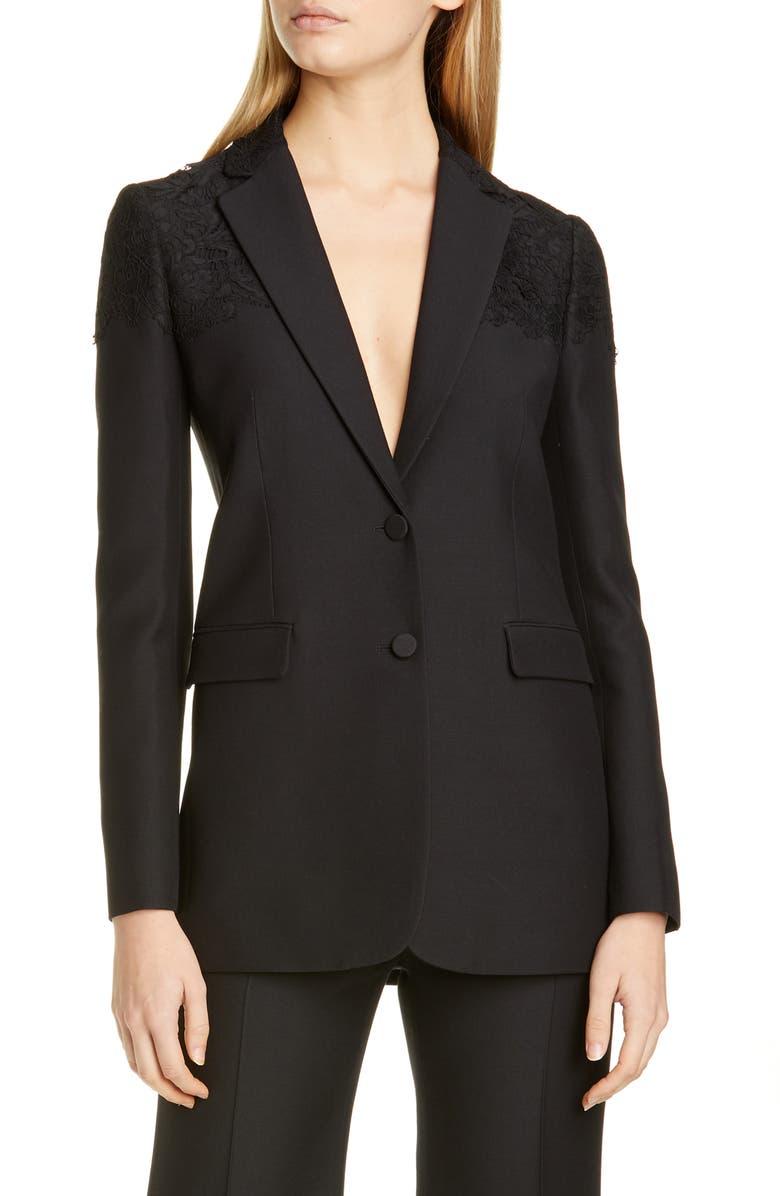 VALENTINO Lace Shoulder Wool & Silk Blazer, Main, color, NERO