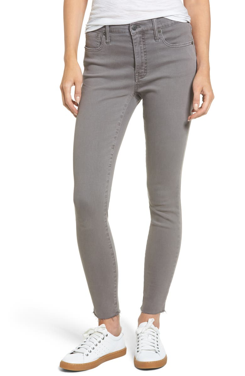 MADEWELL 9-Inch High-Rise Skinny Jeans: Raw-Hem Garment-Dyed Edition, Main, color, GREY EVENING