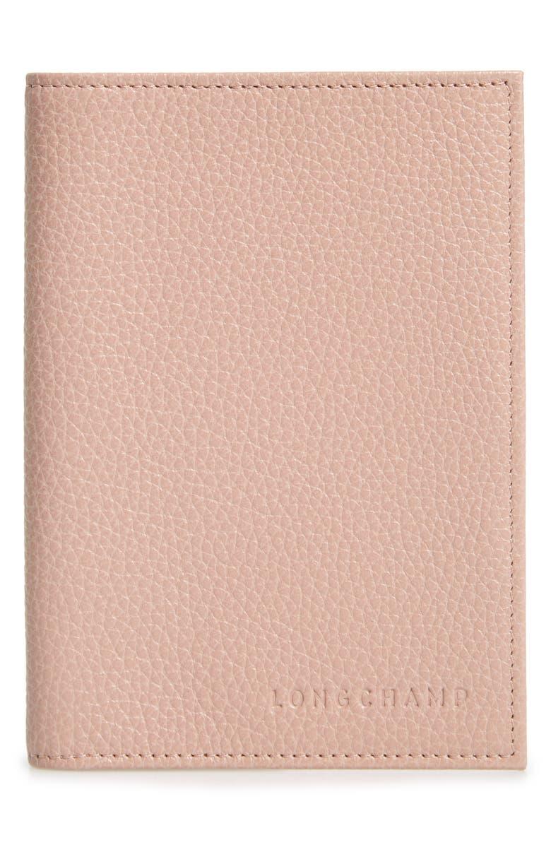 LONGCHAMP Leather Passport Case, Main, color, POWDER PINK