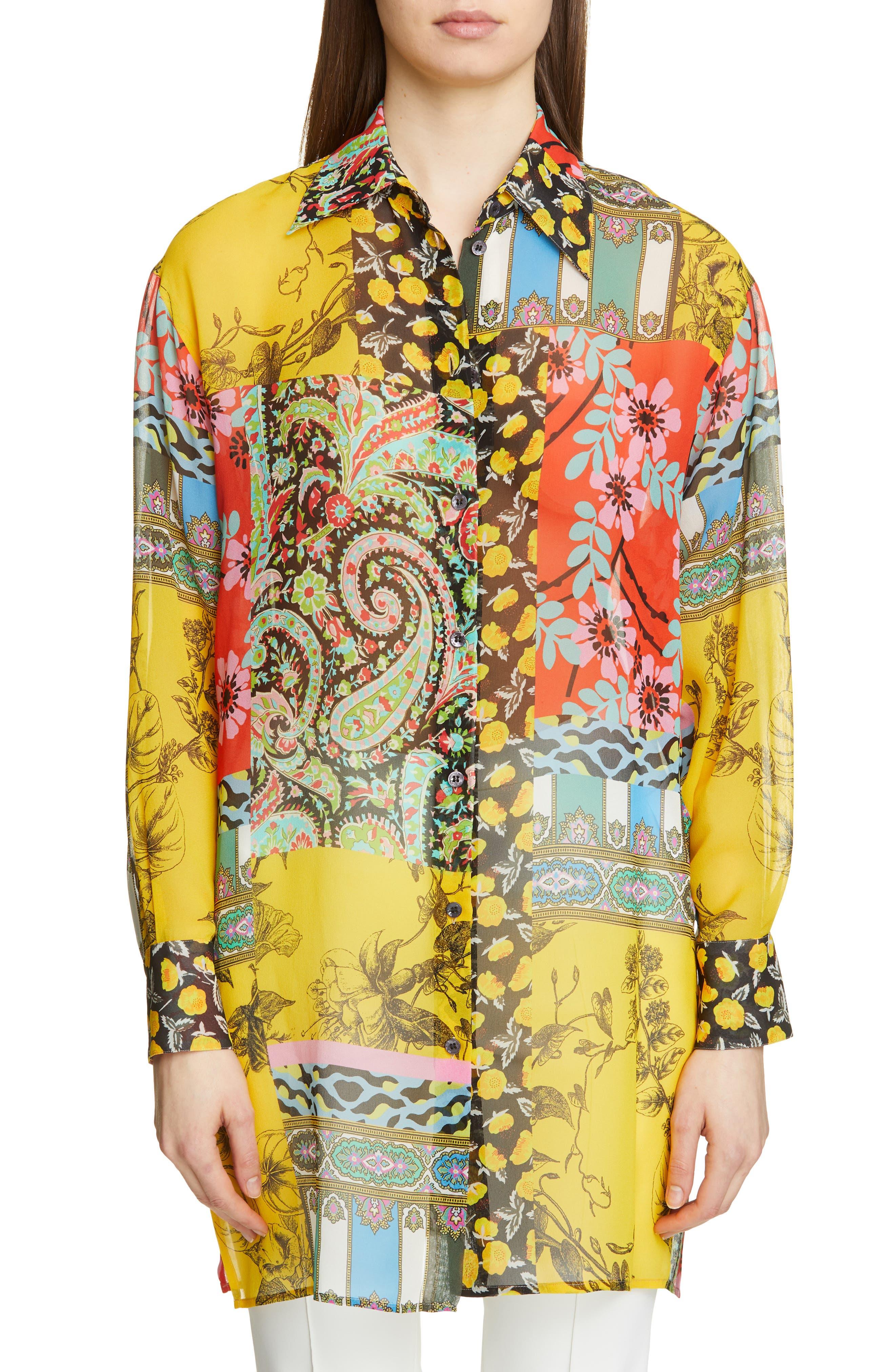 ,                             Patchwork Print Silk Tunic,                             Main thumbnail 1, color,                             YELLOW
