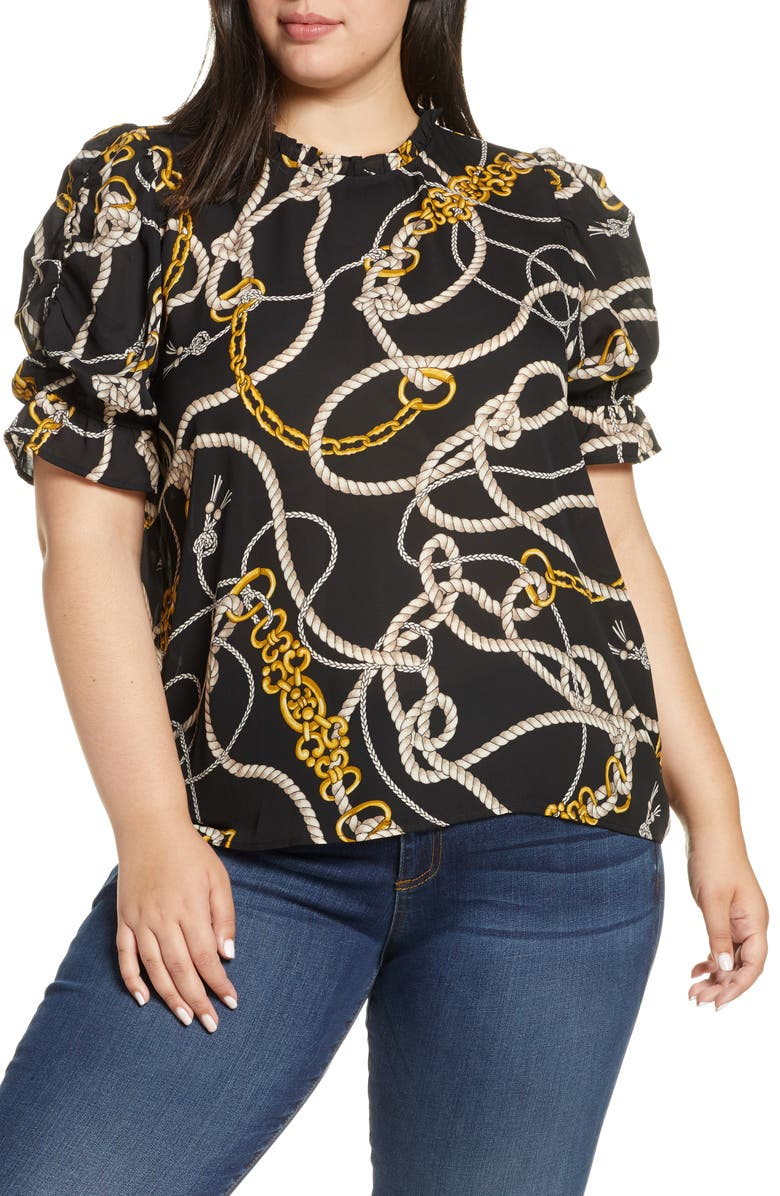 GIBSON Rebecca Print Ruffle Sleeve Blouse, Main, color, 001