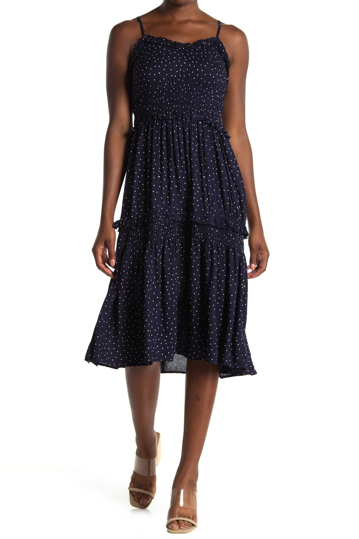 Image of Angie Dot Print Smocked Tiered Midi Dress