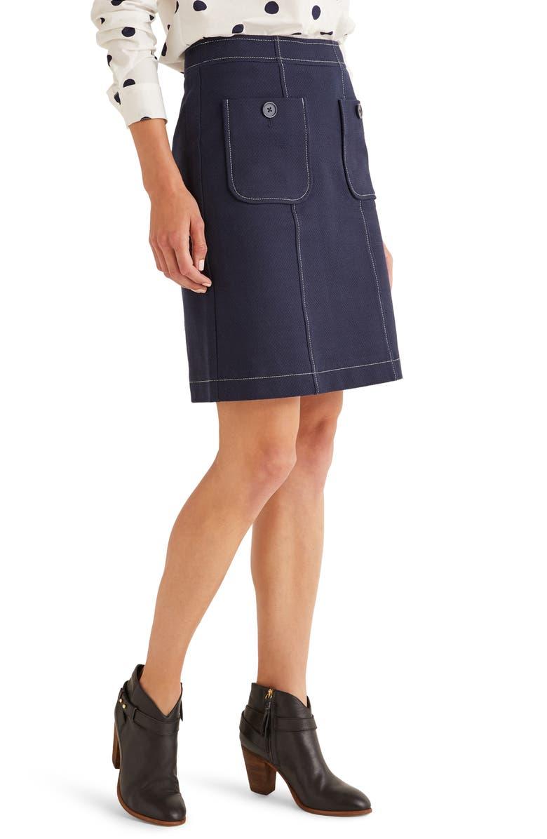 BODEN Tallis Topstitched Cotton Blend Miniskirt, Main, color, NAVY