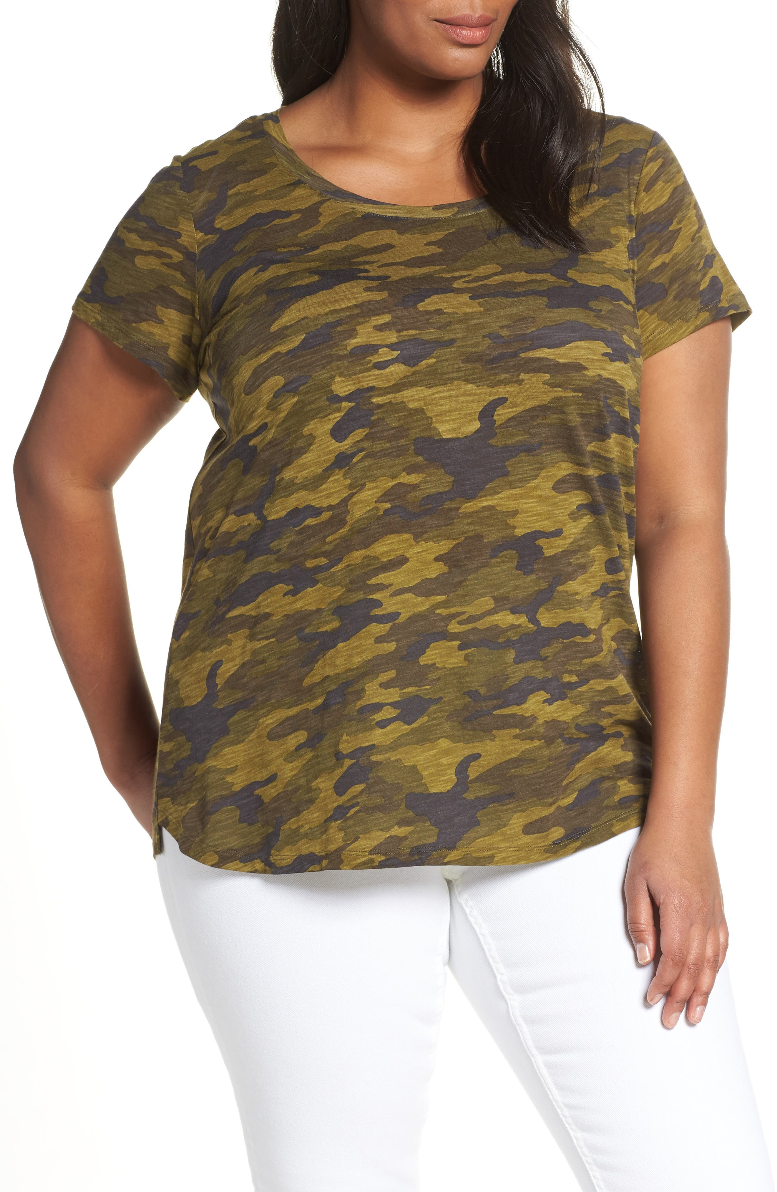 db628a785 Plus Size Vince Camuto Scoop Neck Camo Tee, Green