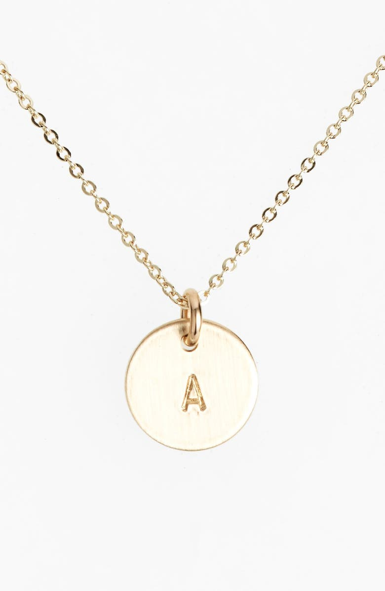 NASHELLE 14k-Gold Fill Initial Mini Circle Necklace, Main, color, 14K GOLD FILL A
