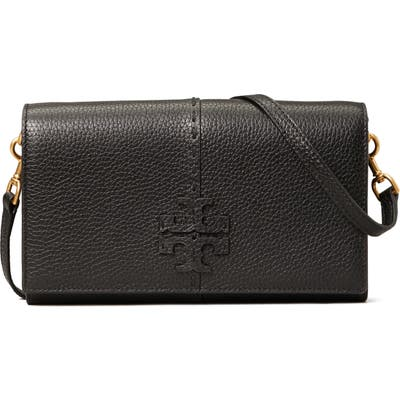 Tory Burch Mcgraw Leather Crossbody Wallet - Black