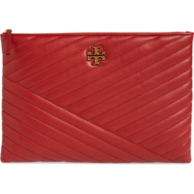Tory Burch Kira Chevron Leather Zip Pouch - Red