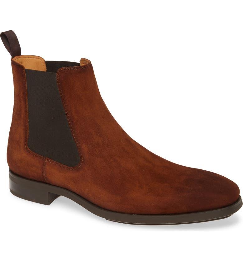 MAGNANNI Riley Diversa Chelsea Boot, Main, color, COGNAC SUEDE