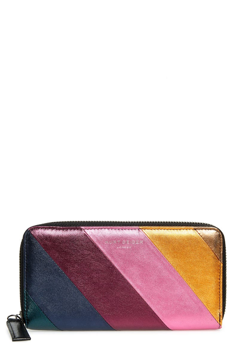 KURT GEIGER LONDON Zip Around Leather Wallet, Main, color, BROWN MULTI