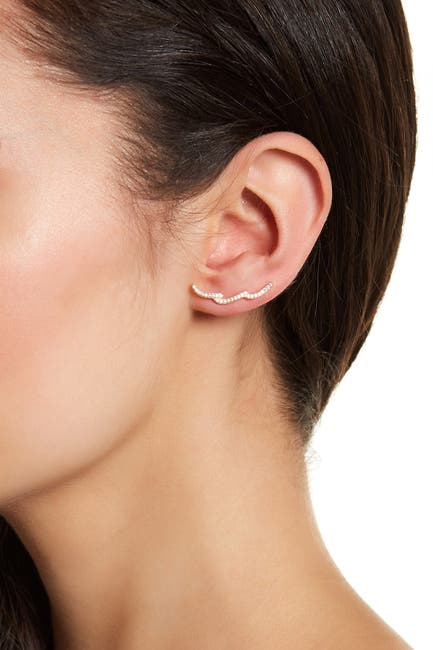 Image of ADORNIA Sterling Silver Swarovski Crystal Accented Wave Ear Climber Earrings