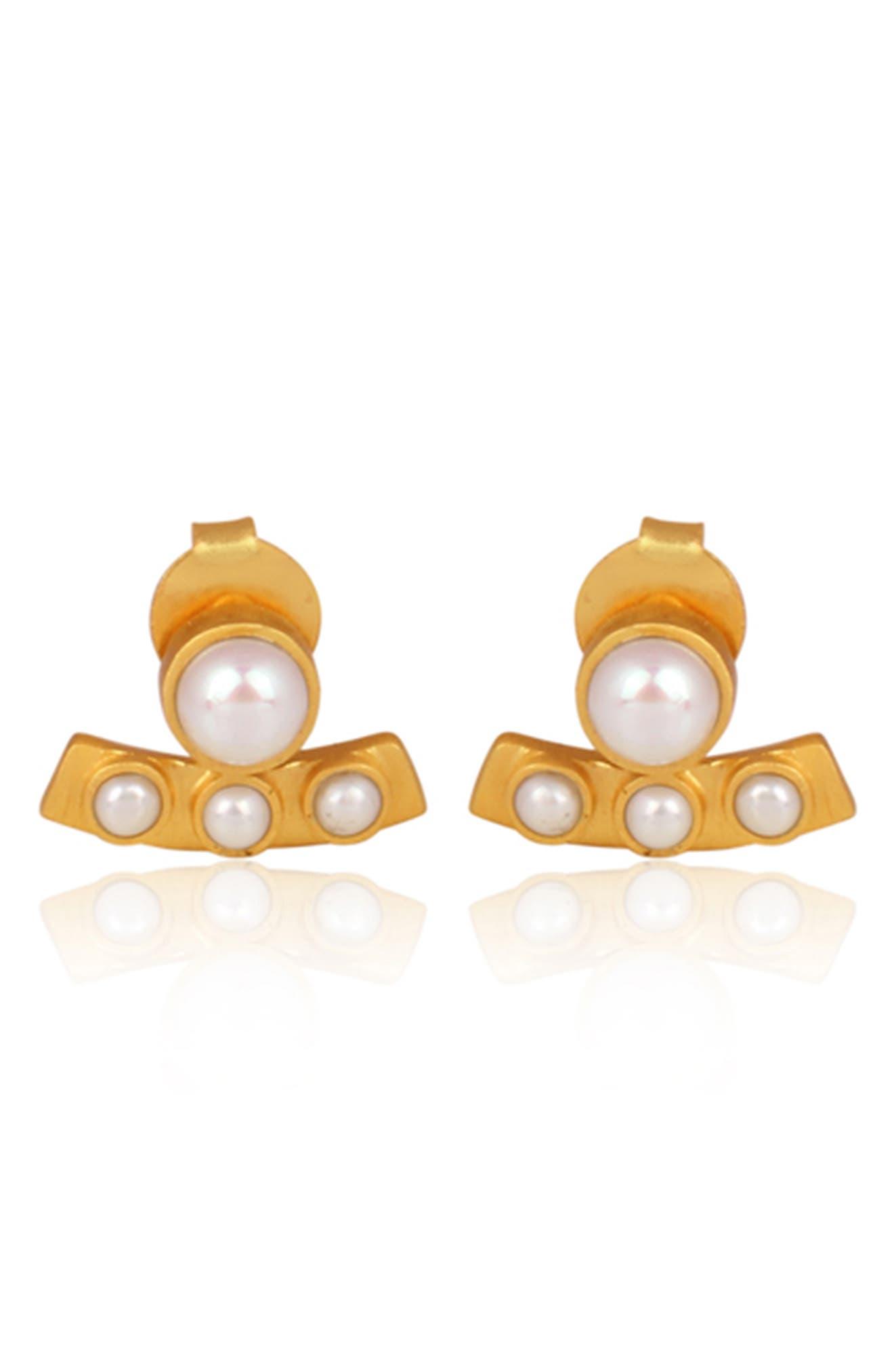 Cultured Pearl Stud Earrings