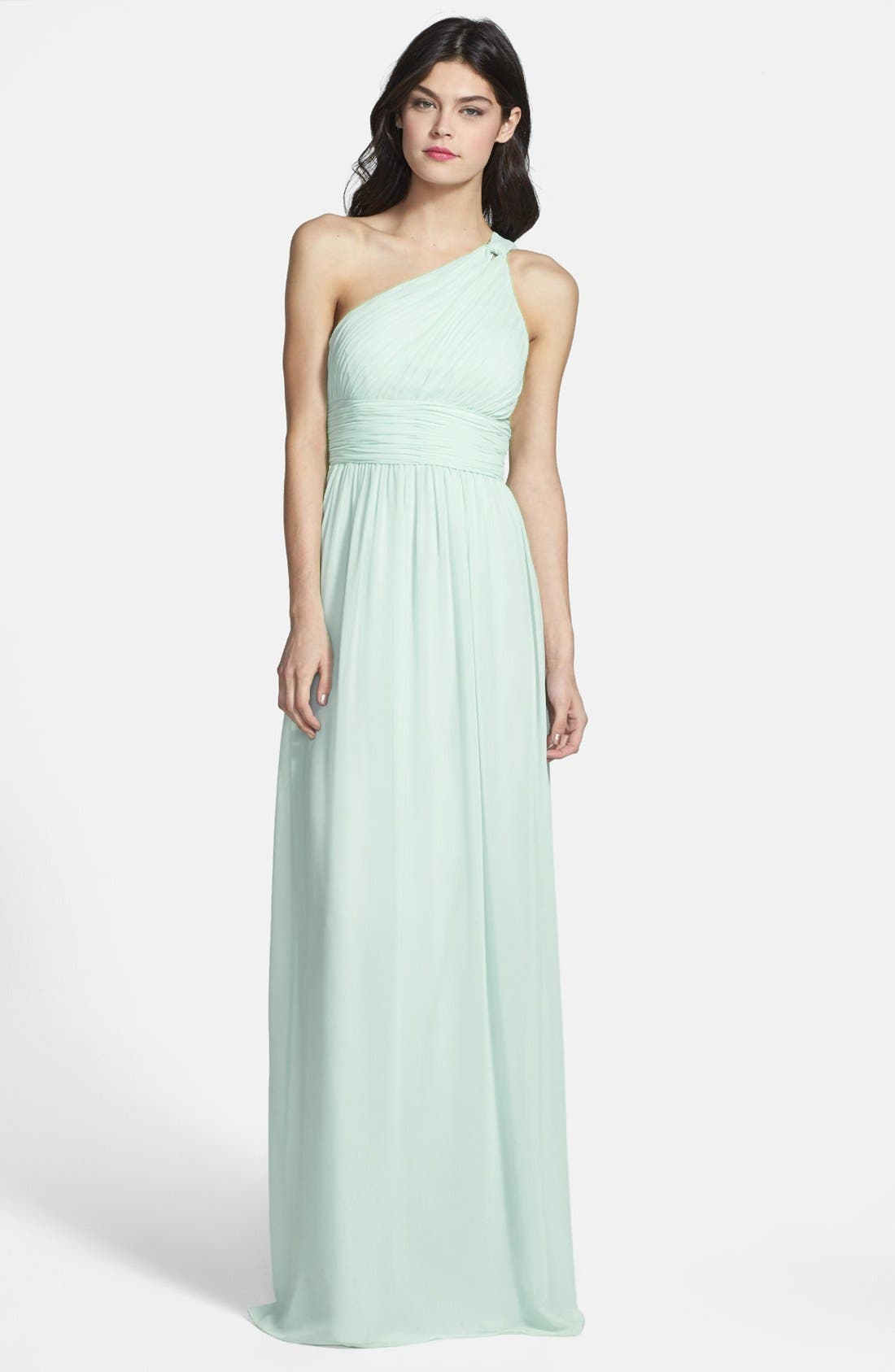,                             'Rachel' Ruched One-Shoulder Chiffon Gown,                             Main thumbnail 50, color,                             338