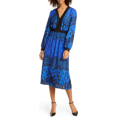 Ted Baker London Maryema Quartz Long Sleeve A-Line Dress, (fits like 00 US) - Blue
