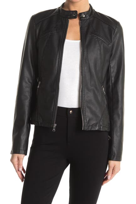 Image of GUESS Faux Leather Racer Jacket