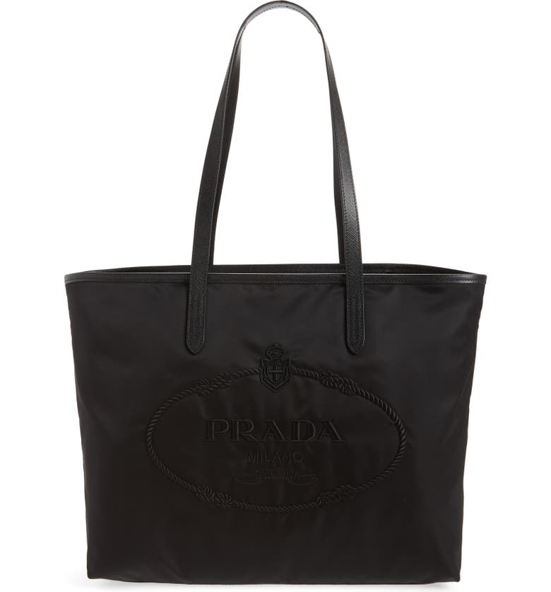 PRADA Logo Embroidered Tote, Main, color, NERO