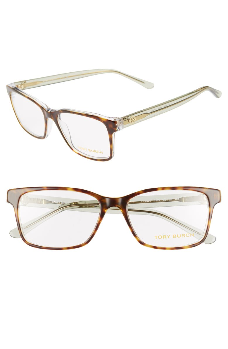 TORY BURCH 52mm Rectangle Optical Glasses, Main, color, BROWN/ CRYSTAL GREEN