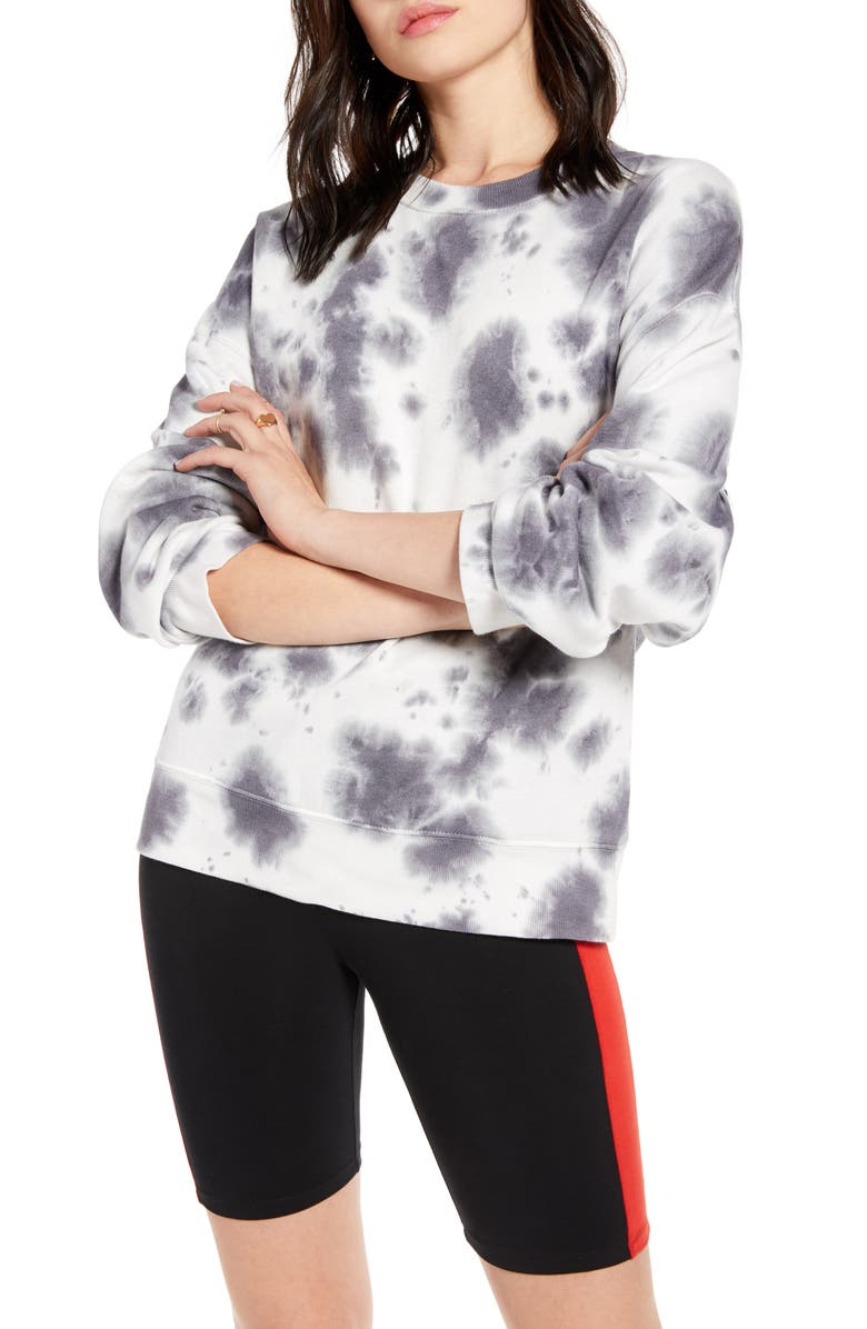 BP. x Claudia Sulewski Tie Dye Sweatshirt, Main, color, GREY KITTEN TIE DYE