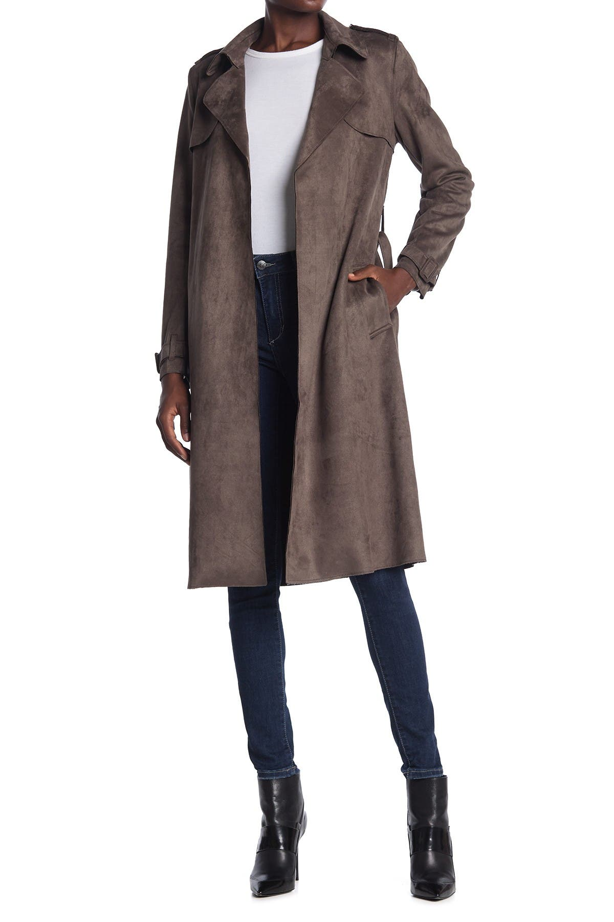 Image of Philosophy Apparel Belted Faux Suede Trench Coat