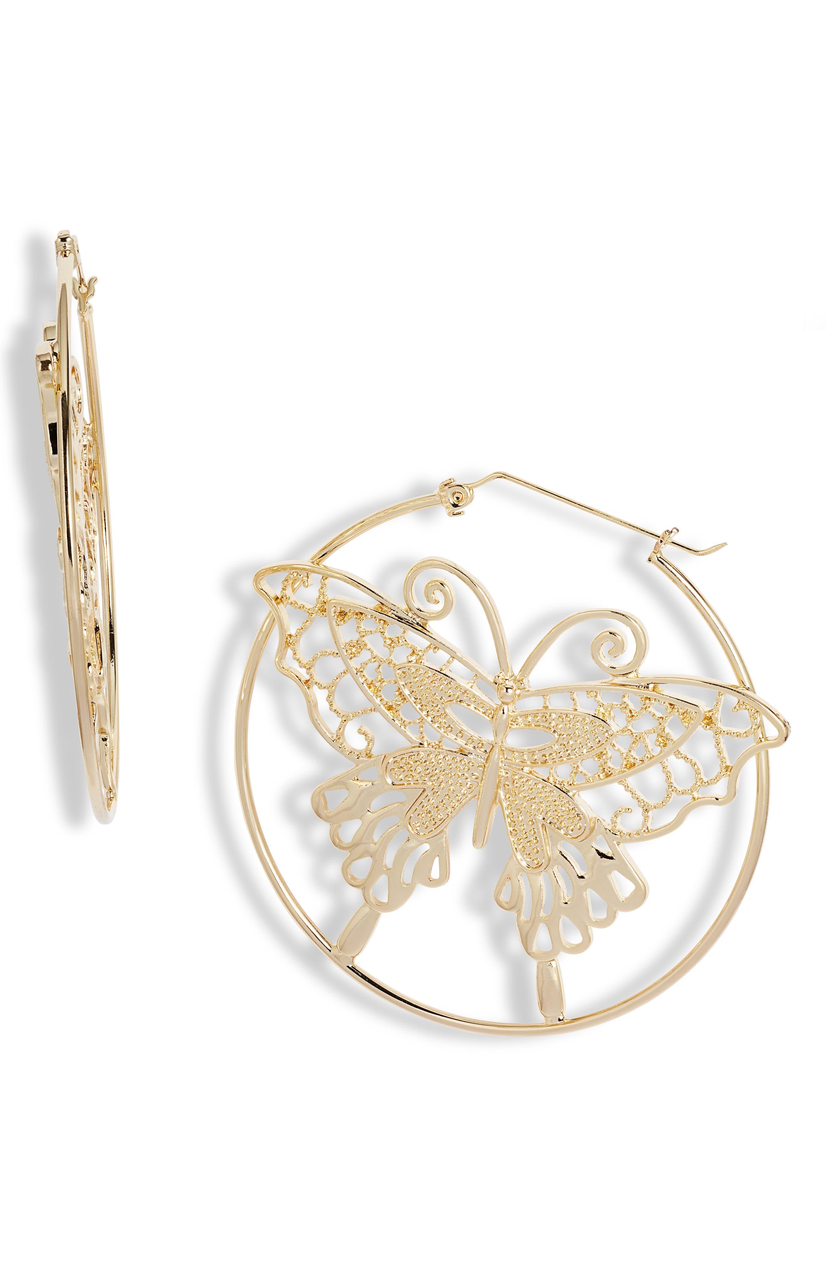 Butterfly Medallion Hoop Earrings
