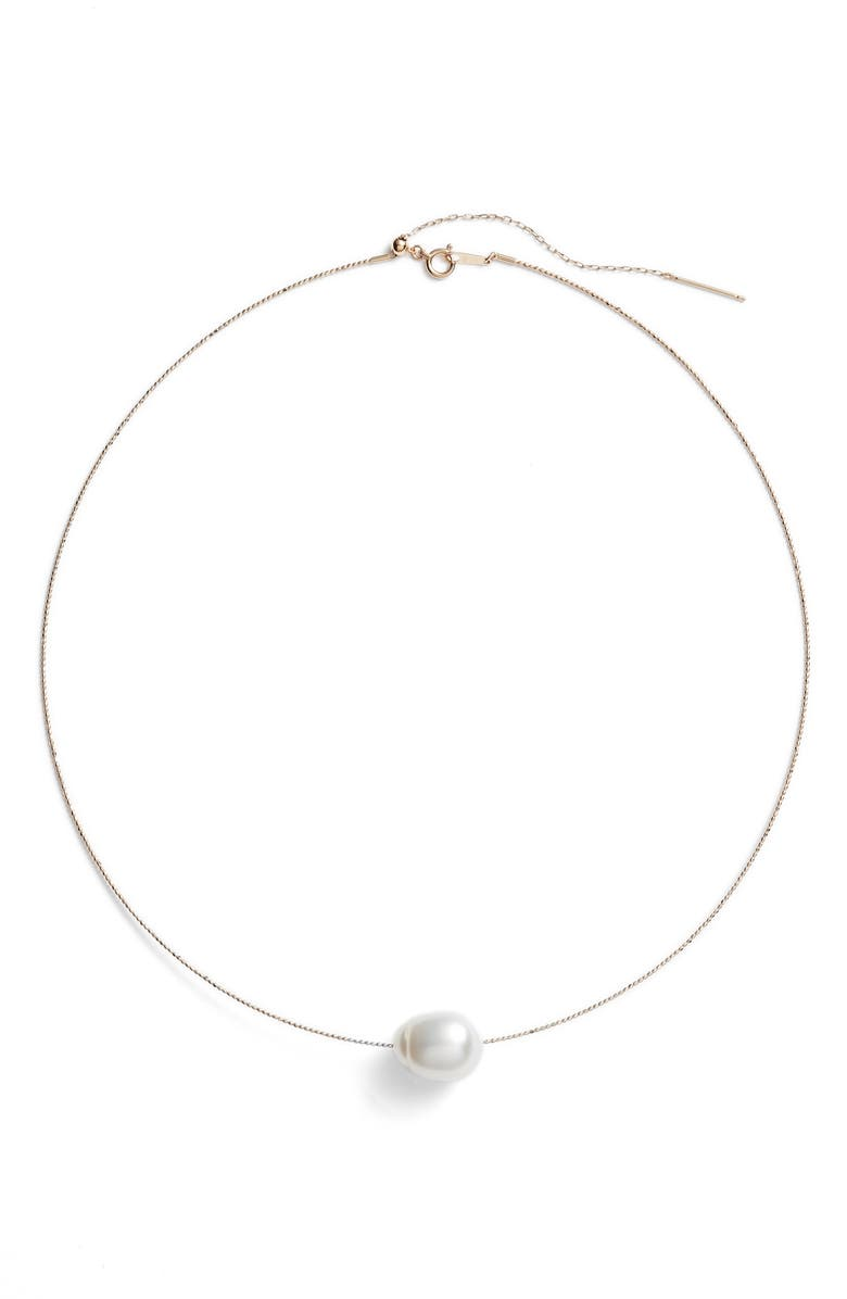 POPPY FINCH South Sea Collar Necklace with Genuine Pearl, Main, color, YELLOW GOLD/ WHITE PEARL