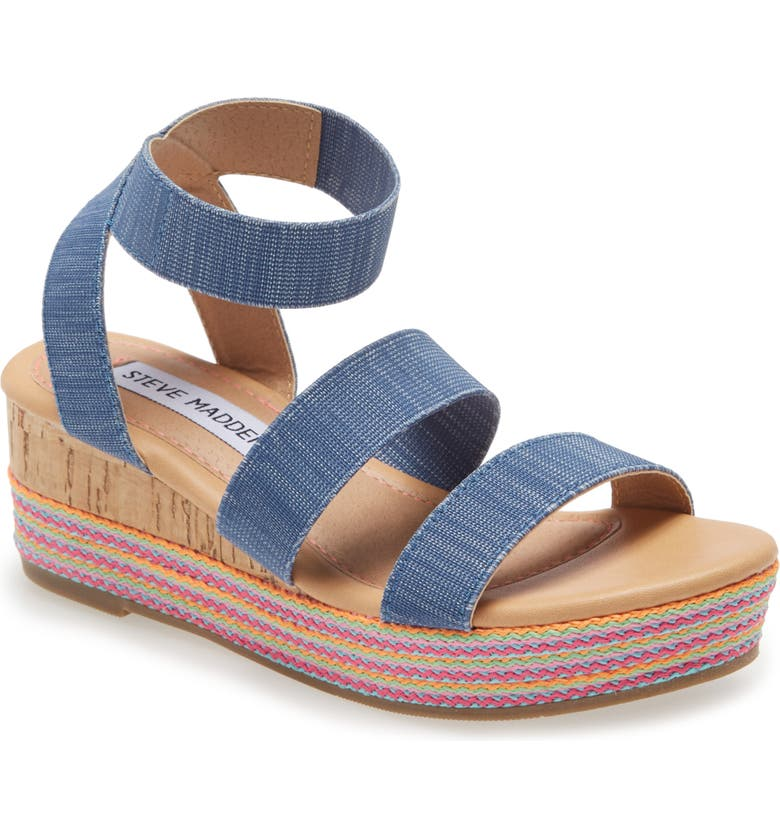 STEVE MADDEN JBandi Wedge Sandal, Main, color, DENIM