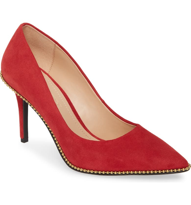 COACH Waverly Pointy Toe Pump, Main, color, RED SUEDE