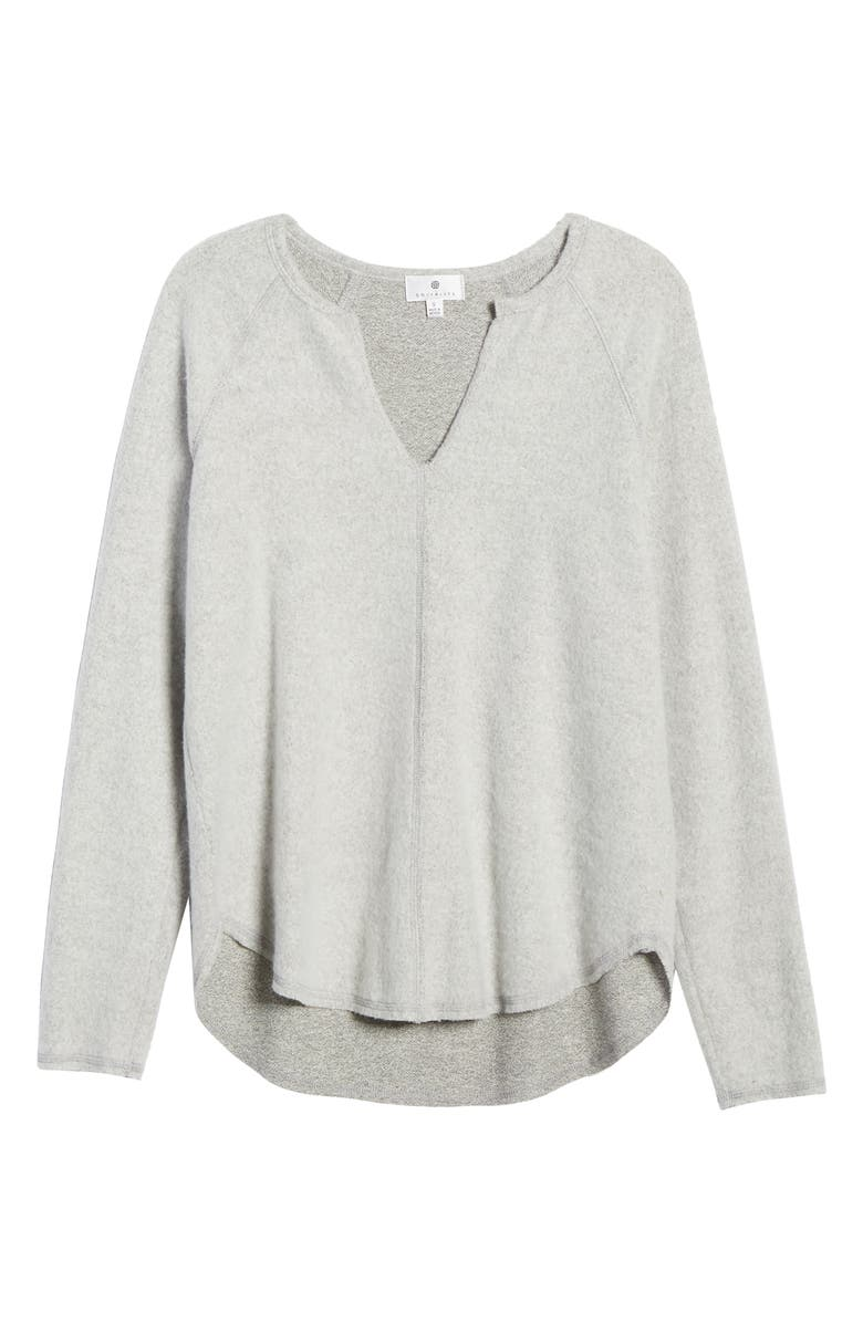 SOCIALITE Split Neck Raglan Top, Alternate, color, HEATHER GREY