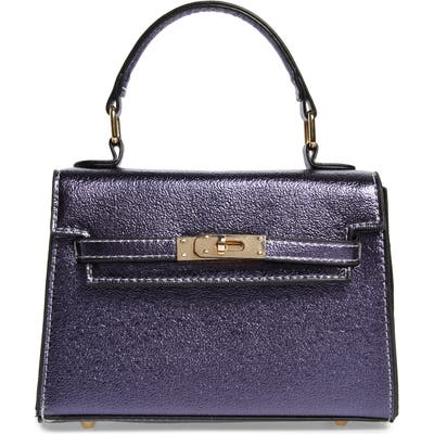 Knotty Textured Metallic Faux Leather Top Handle Bag - Purple