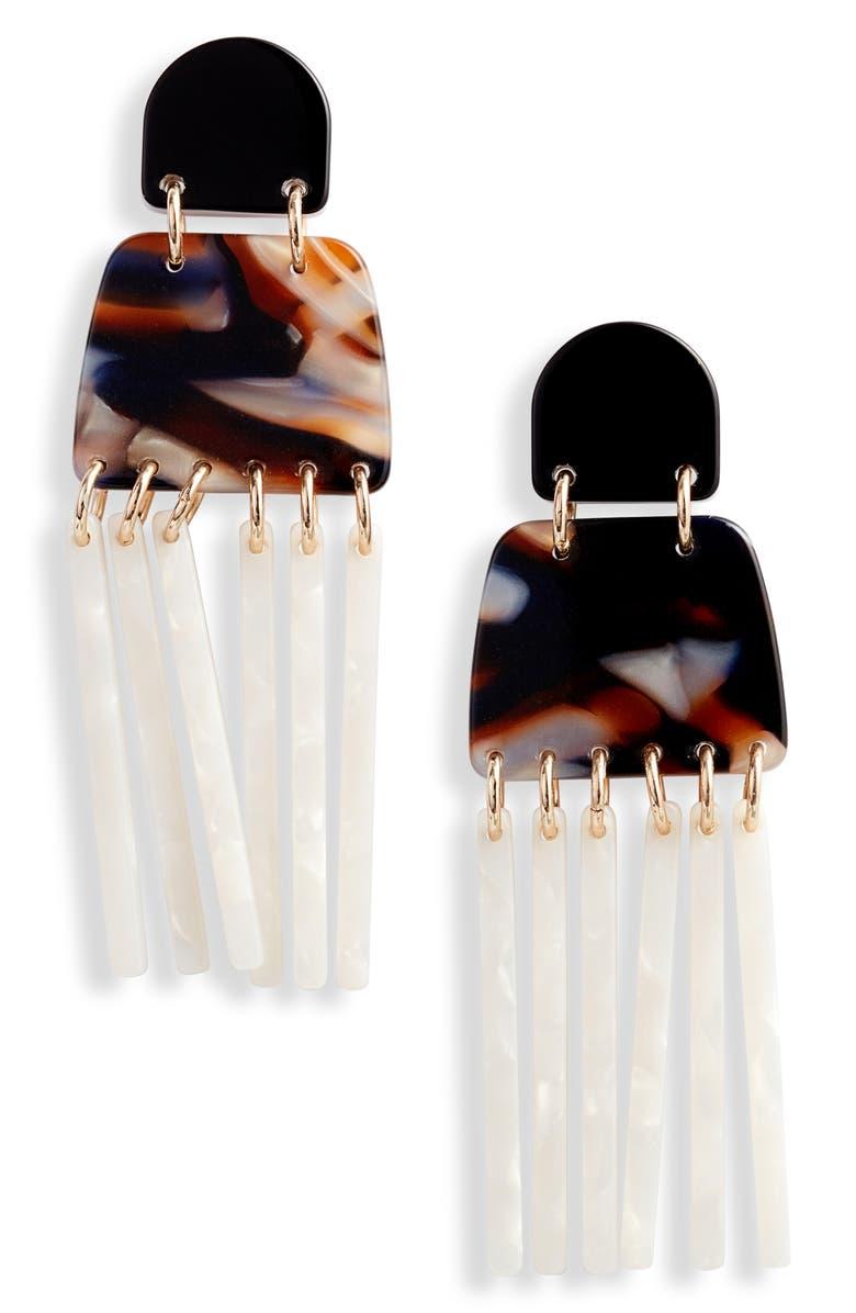 LELE SADOUGHI Empire Fringe Drop Earrings, Main, color, GINGERBREAD