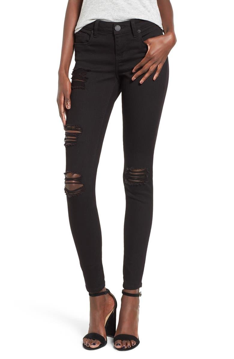 STS BLUE Piper Destroyed Skinny Jeans, Main, color, BLACK