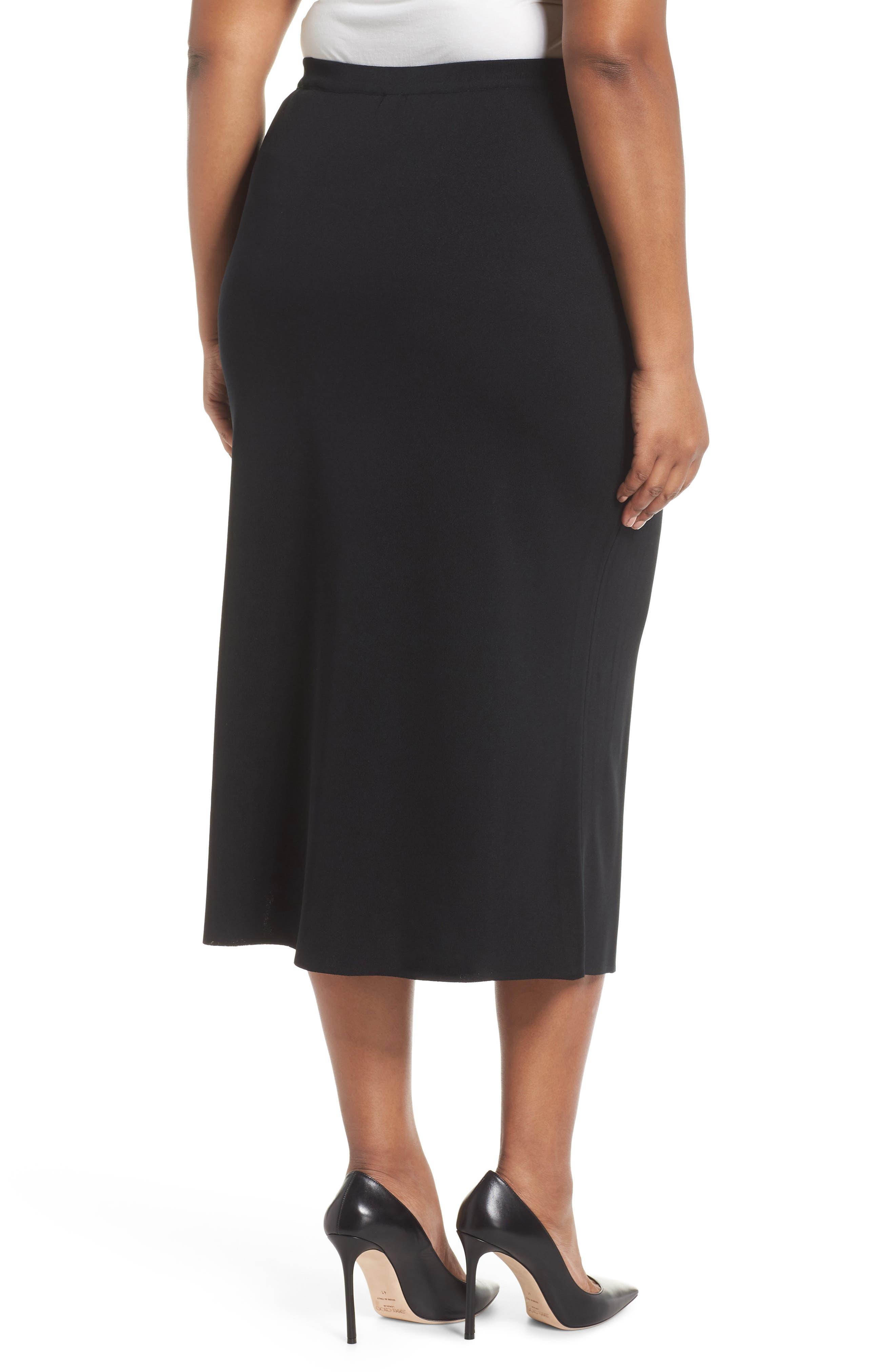 ,                             Knit Midi Skirt,                             Alternate thumbnail 2, color,                             BLACK