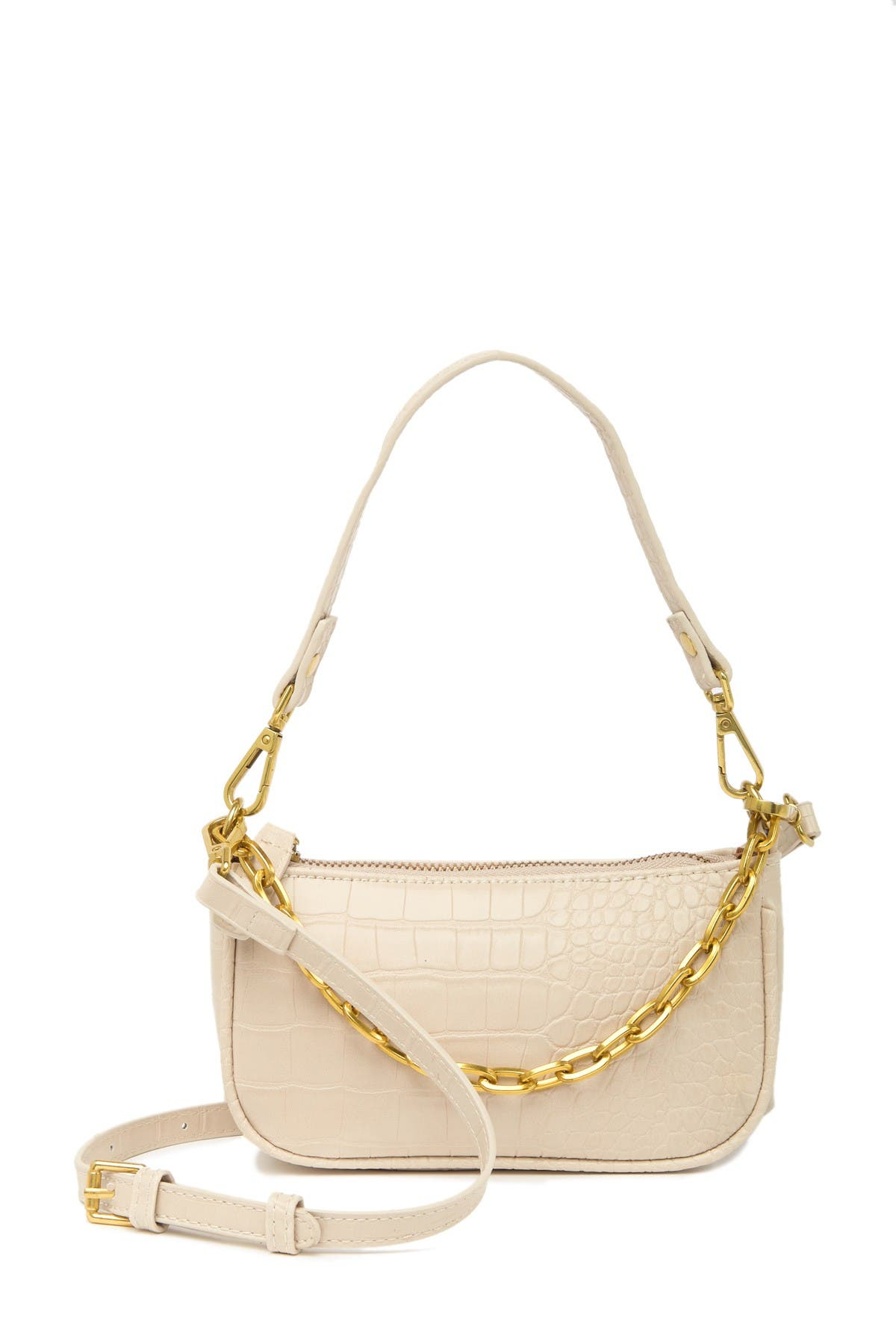 Image of Most Wanted USA Crocodile Embossed Leather Chain Baguette Crossbody Bag
