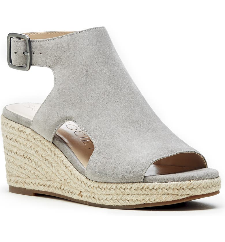 SOLE SOCIETY Camreigh Espadrille Wedge, Main, color, SOFT GREY SUEDE