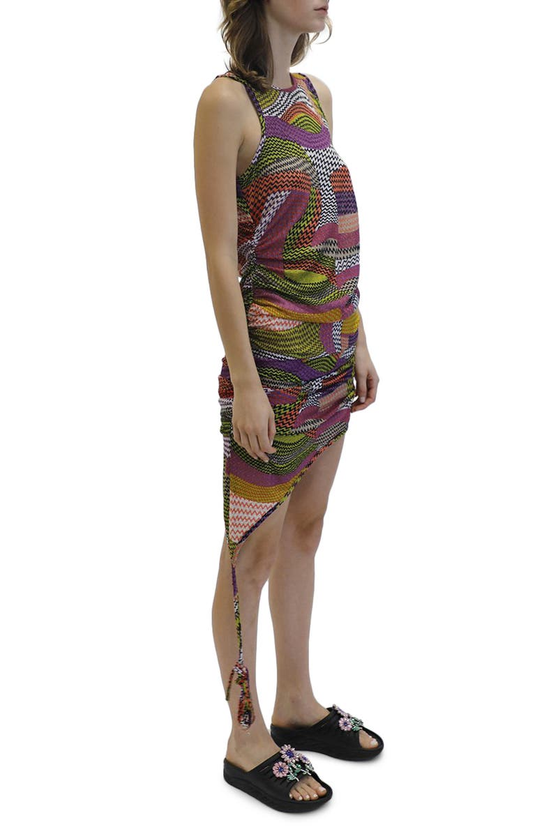 COLLINA STRADA Lydia Ruched Asymmetrical Zigzag Stretch Lace Minidress, Main, color, 500