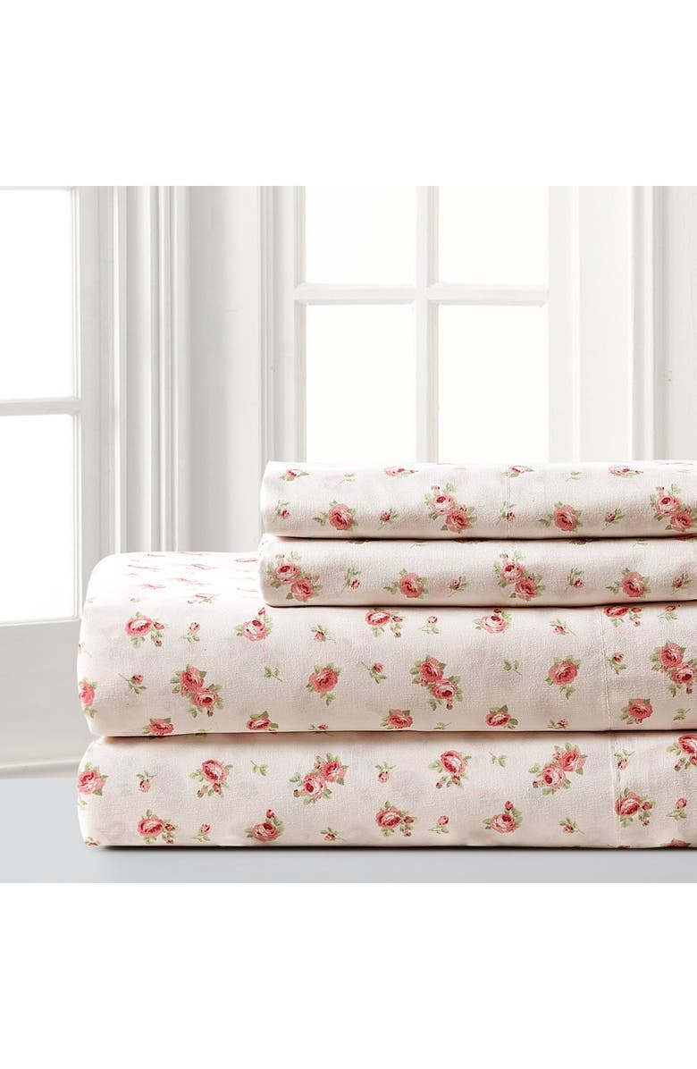 MODERN THREADS Printed 4-Piece Sheet Set Sweet Rose Ivory Queen, Main, color, IVORY