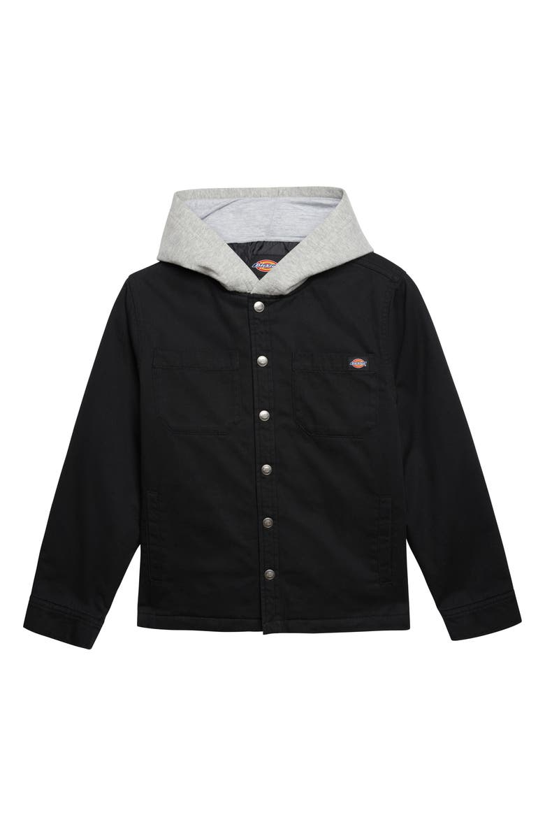 DICKIES Hooded Twill Jacket, Main, color, BLACK