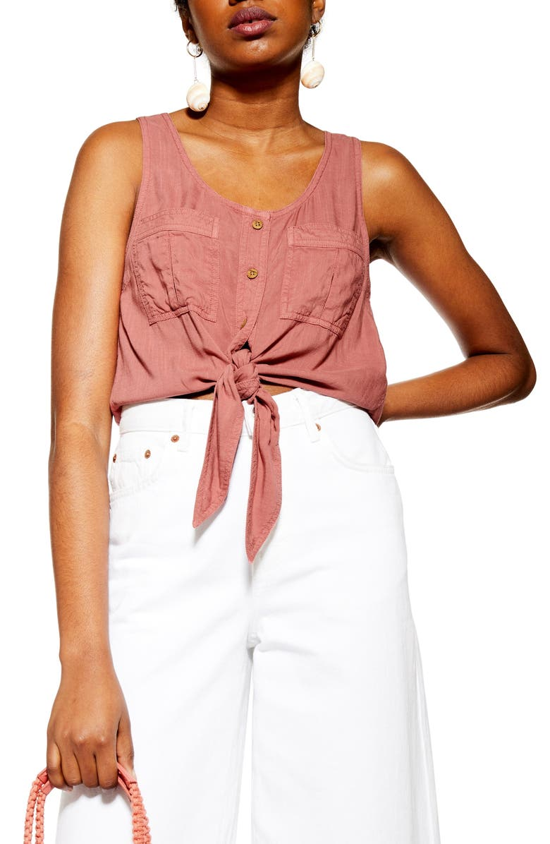 TOPSHOP Utility Knot Crop Top, Main, color, DUSTY PINK