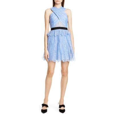 Self-Portrait Cross Front Lace Minidress, Blue