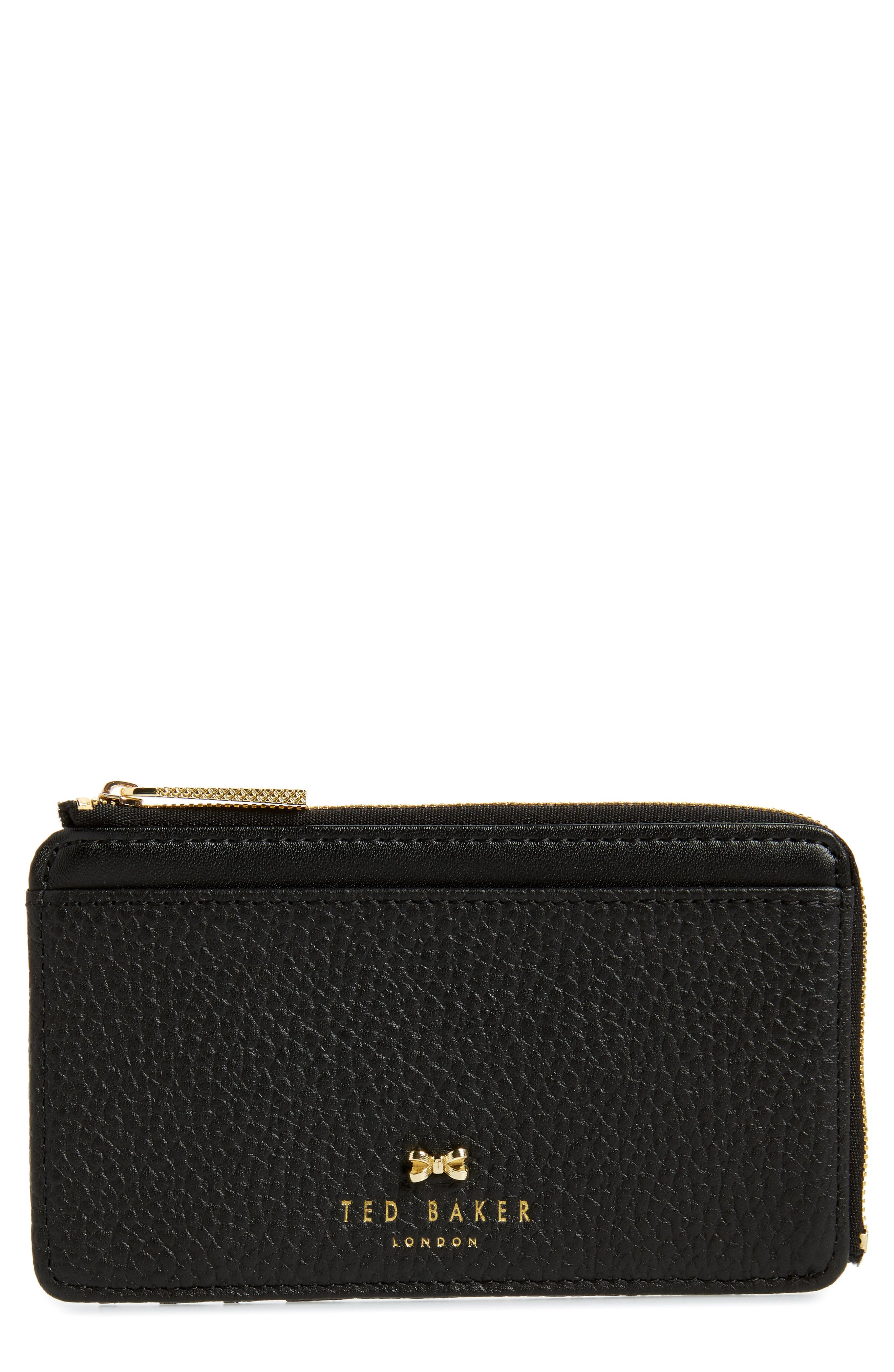 ,                             Lotta Bow Leather Card Case,                             Main thumbnail 1, color,                             001