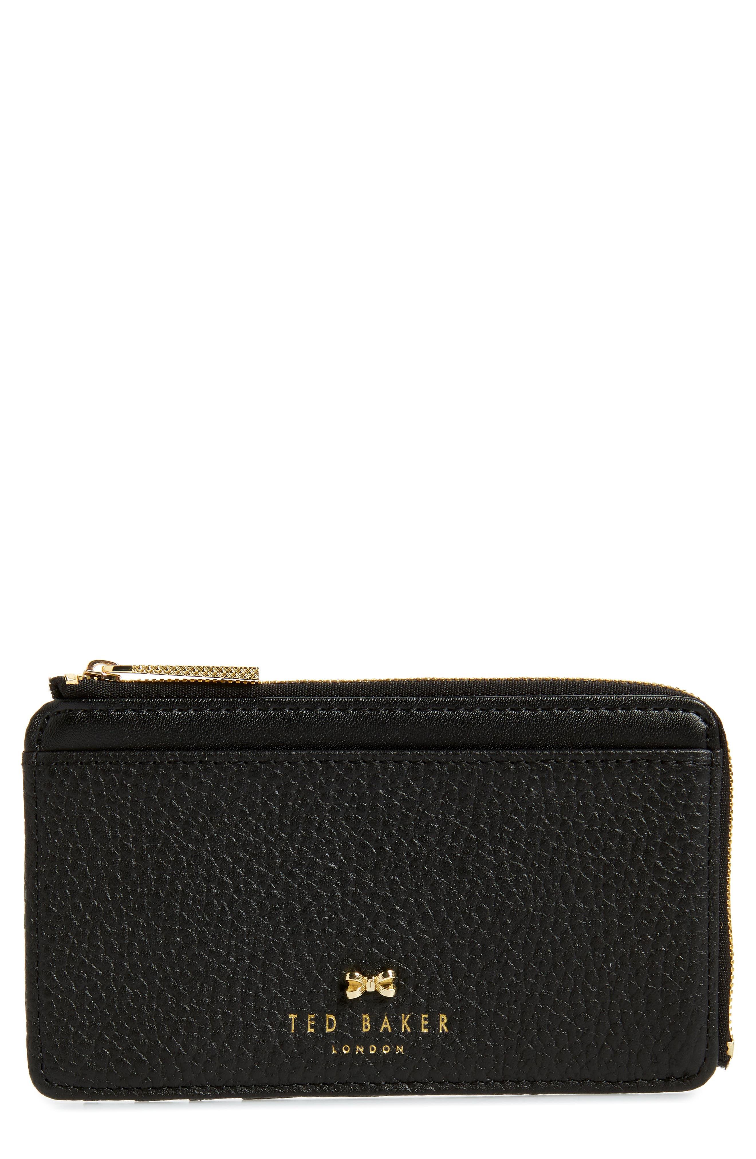 Lotta Bow Leather Card Case, Main, color, 001