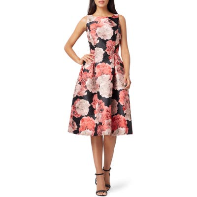 Tahari Mikado Floral Fit & Flare Dress, Black