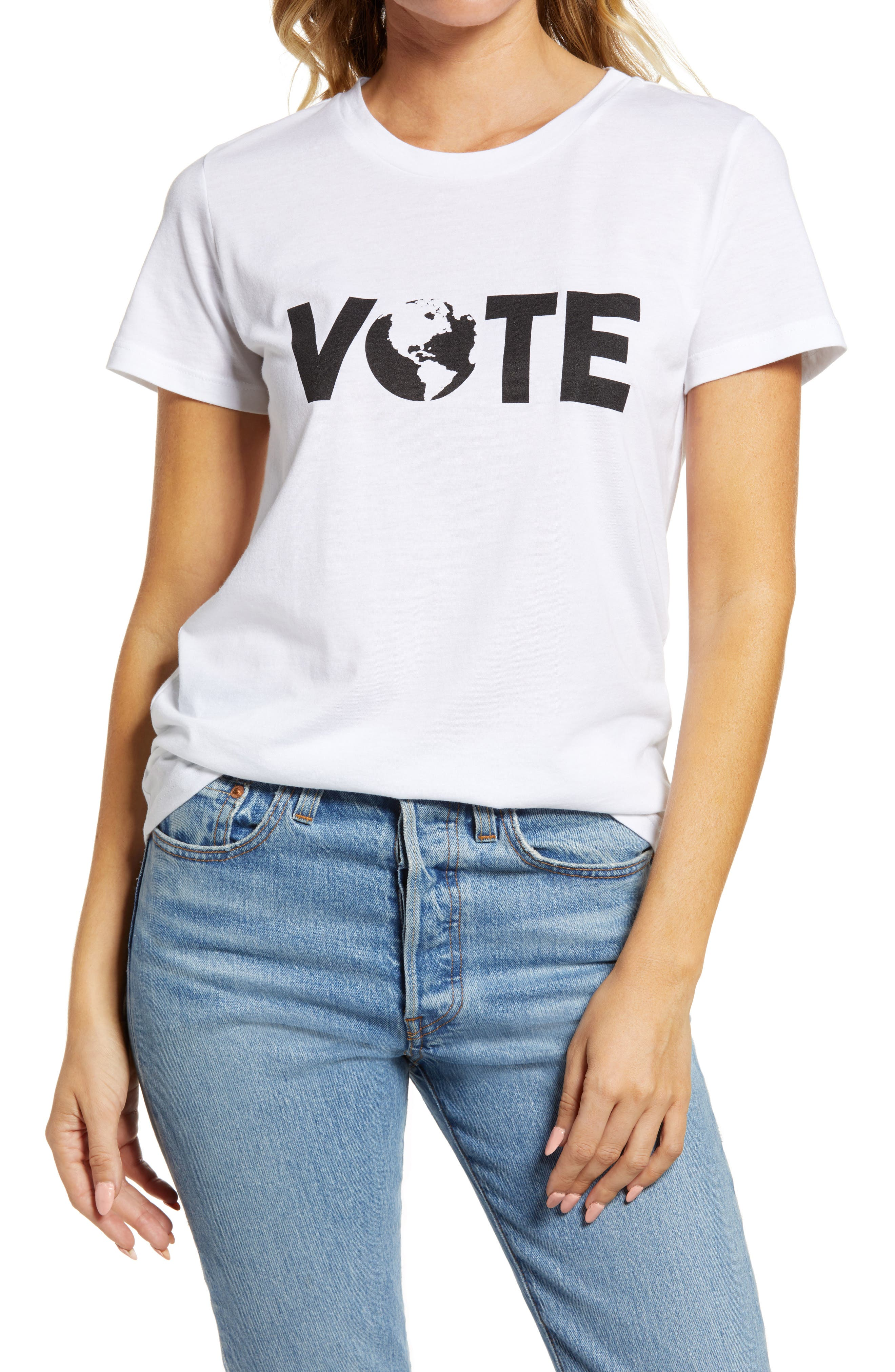 You\\\'ll know what to do as long as you keep wearing this supersoft cotton-blend tee printed with a crucial call to action. When you buy Treasure & Bond, Nordstrom will donate 2.5% of net sales to organizations that work to empower youth. Style Name: Treasure & Bond Vote Collection Women\\\'s Graphic Tee. Style Number: 6088870. Available in stores.