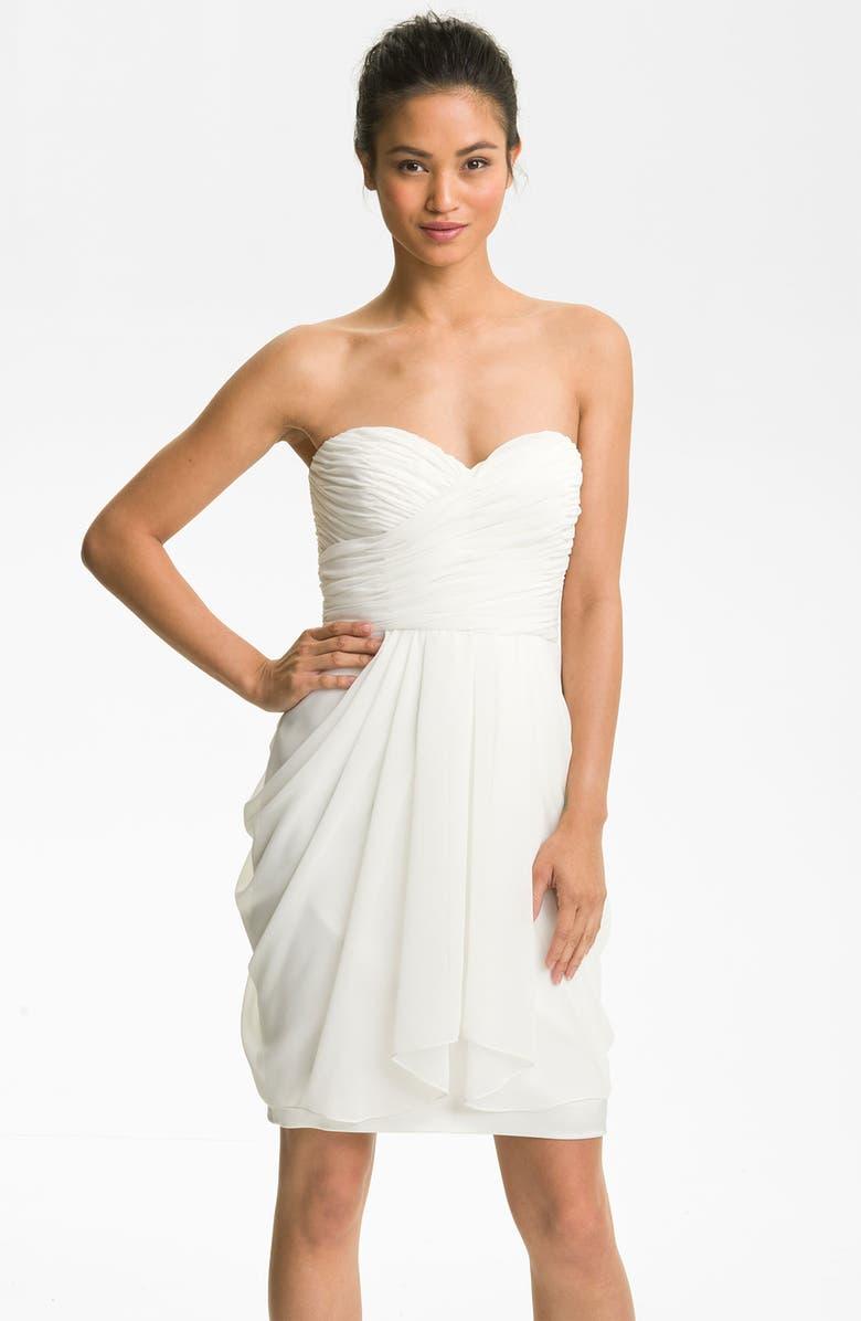 MAGGY LONDON Draped Sweetheart Chiffon Dress, Main, color, BRIDAL WHITE