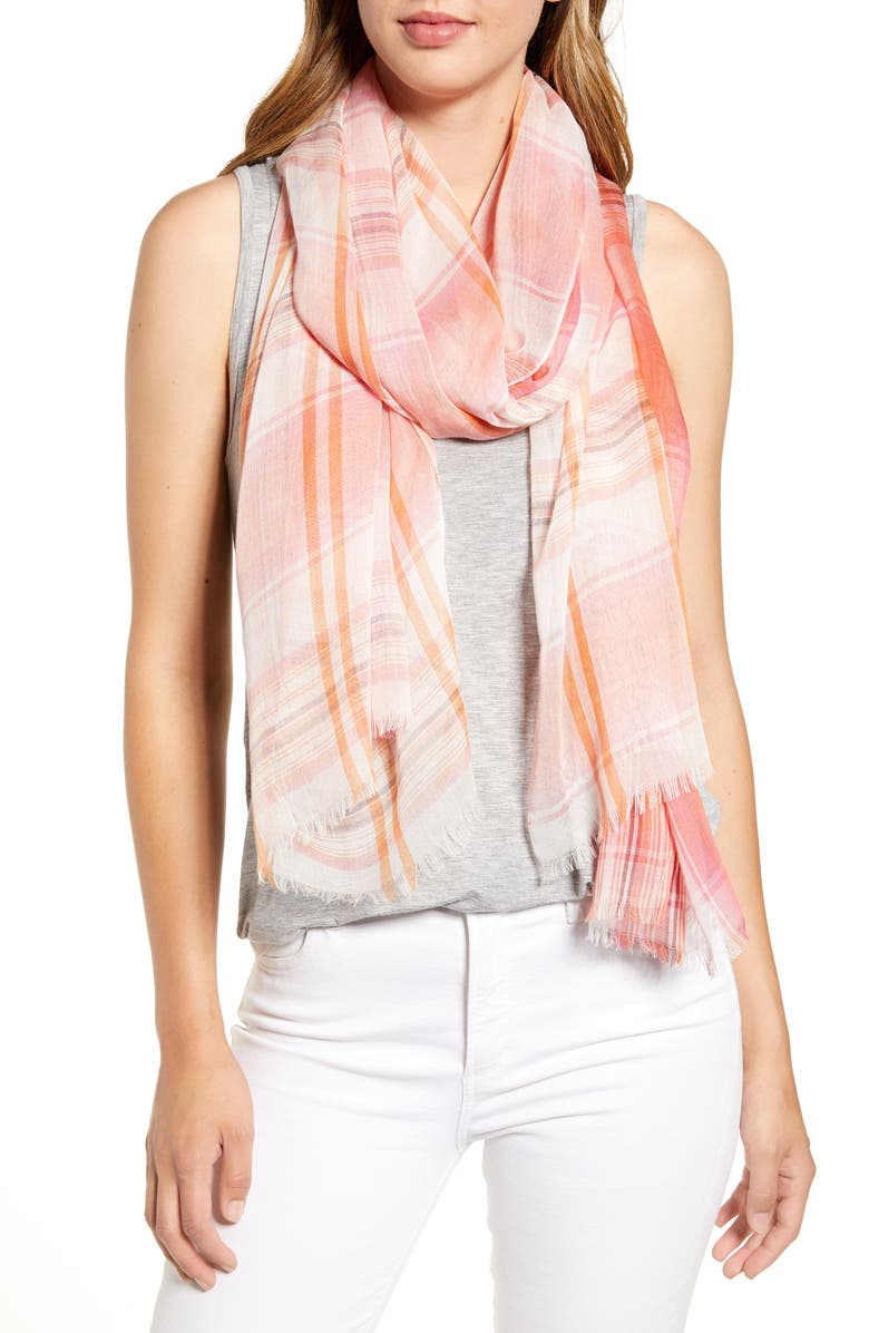 NORDSTROM Yarn Dyed Stripe Wrap, Main, color, PINK VERNAL PLAID
