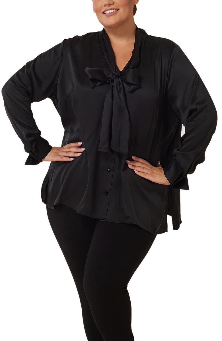 MARÉE POUR TOI Bow Neck Silk Charmeuse Blouse, Main, color, BLACK