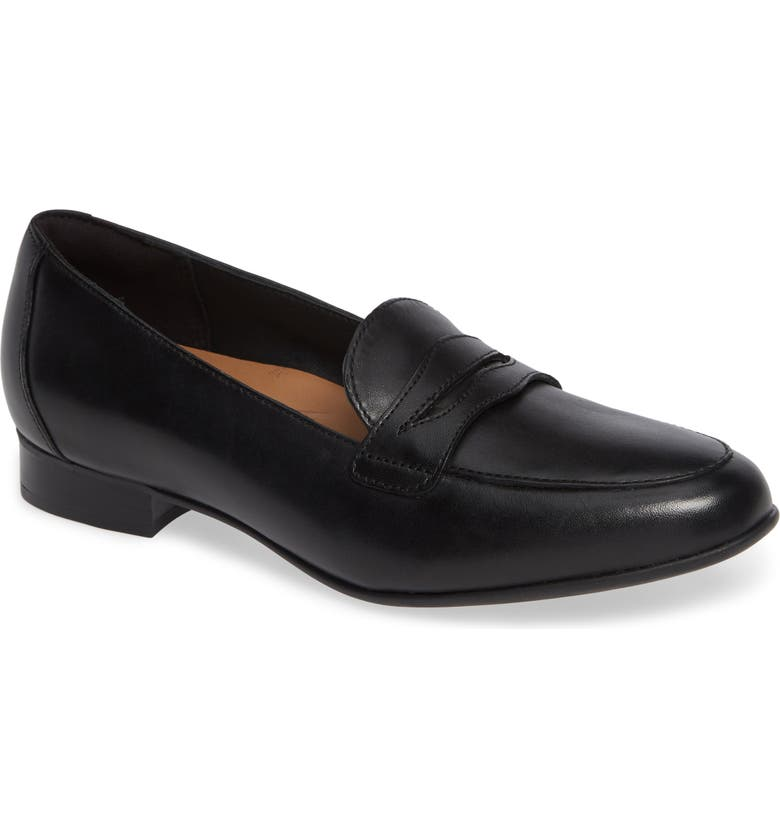 CLARKS<SUP>®</SUP> Un Blush Go Penny Loafer, Main, color, BLACK LEATHER