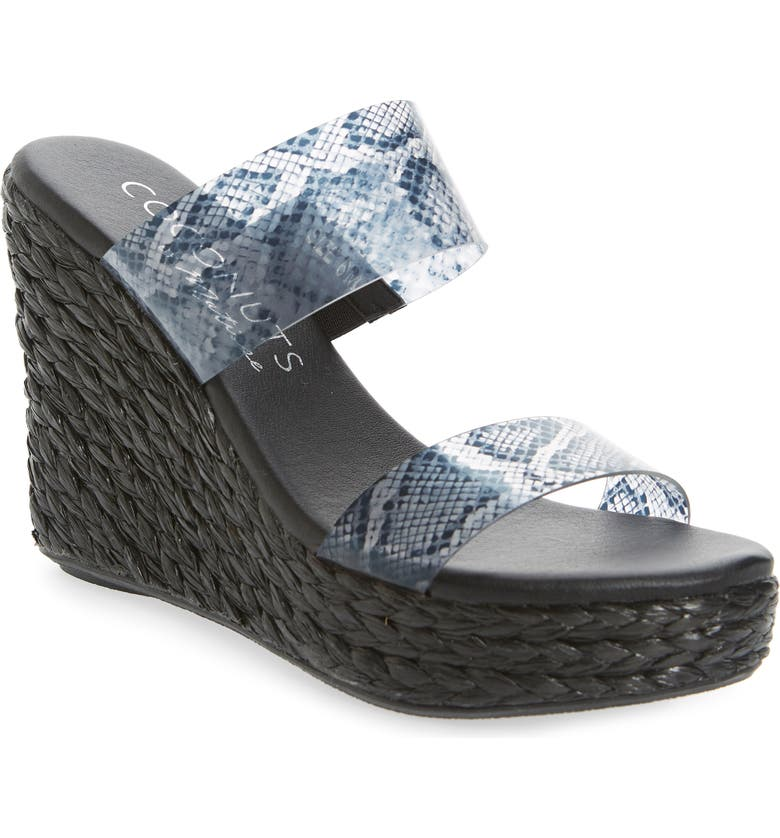 COCONUTS BY MATISSE Bungalow Wedge Slide Sandal, Main, color, BLACK FAUX LEATHER