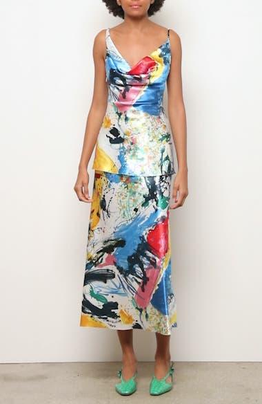 Paint Print Satin Midi Skirt, video thumbnail