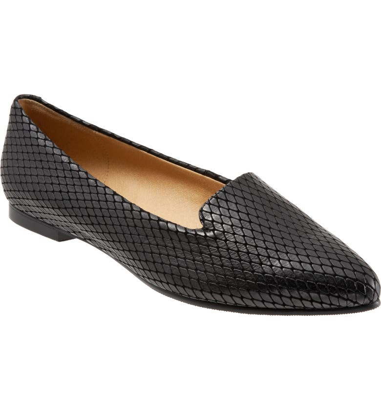 TROTTERS Harlowe Pointy Toe Loafer, Main, color, BLACK LEATHER/ BLACK